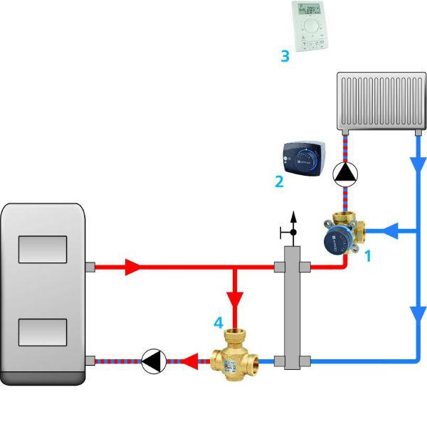 ladowanie zasobnika cwu schemat3 afriso Obrotowe zawory mieszające   sposoby ich podłączenia
